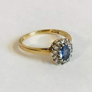 Vintage 9ct Gold Sapphire and Diamond Cluster Ring