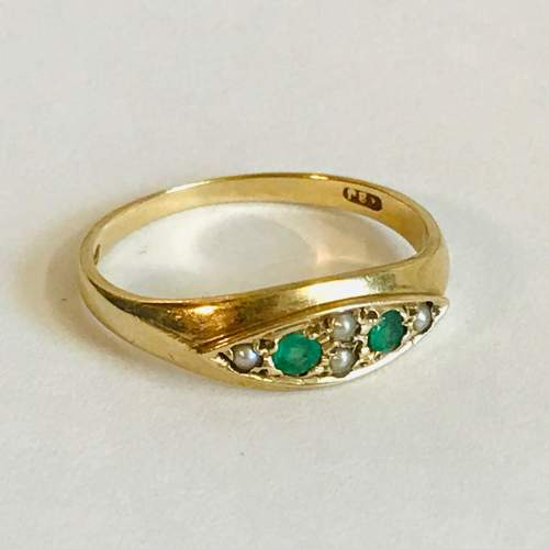 Vintage 9ct Gold Emerald and Pearl Ring image-1