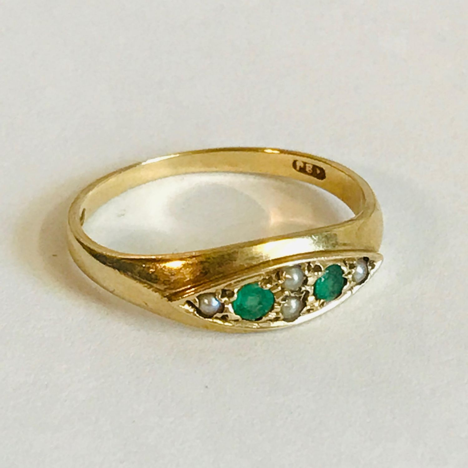 Vintage 9ct Gold Emerald And Pearl Ring Jewellery Gold