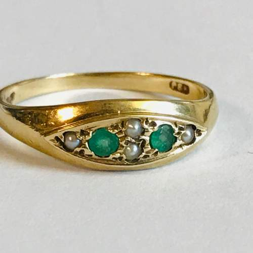 Vintage 9ct Gold Emerald and Pearl Ring image-2