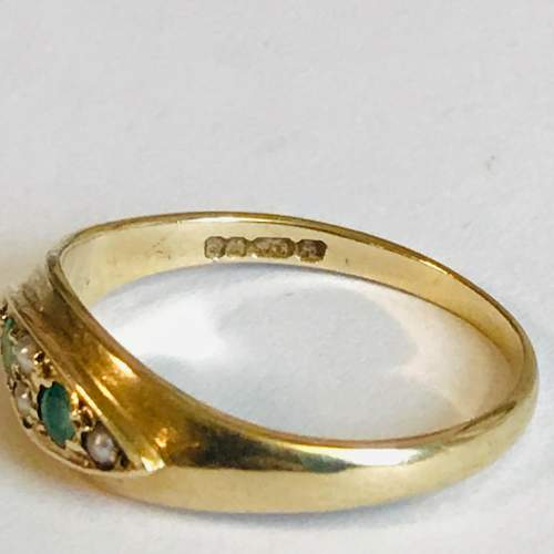 Vintage 9ct Gold Emerald and Pearl Ring image-4