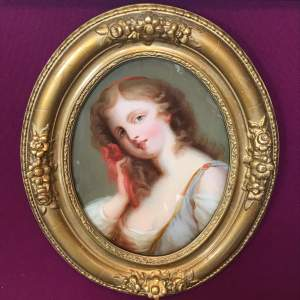 19th Century Oil on Glass Oval Portrait with Red Ribbon