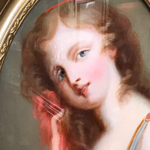 19th Century Oil on Glass Oval Portrait with Red Ribbon image-2