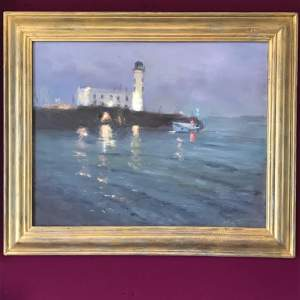 20th Century Oil on Canvas of a Lighthouse Cliffscape