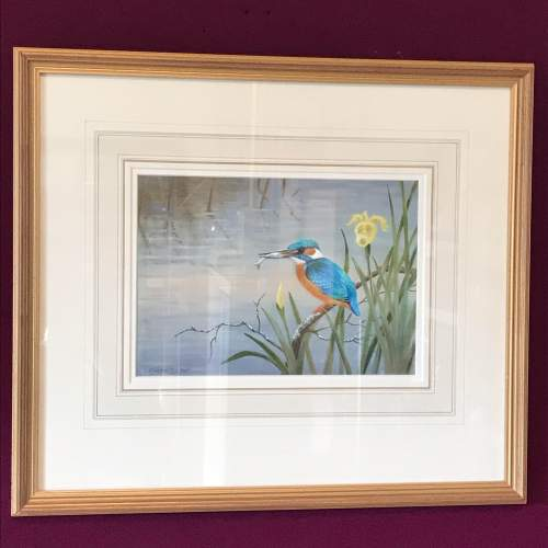 20th Century Watercolour of a Kingfisher image-1