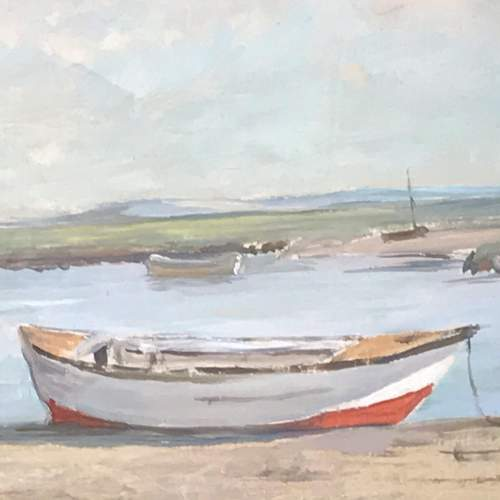 20th Century Oil on Board of Moored Boats image-2