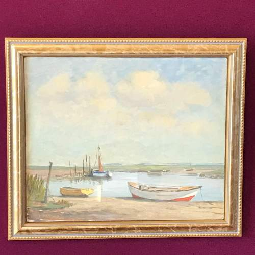 20th Century Oil on Board of Moored Boats image-1