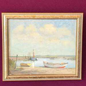 20th Century Oil on Board of Moored Boats