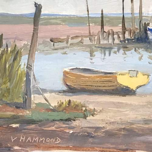 20th Century Oil on Board of Moored Boats image-3