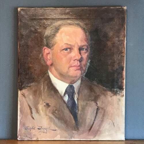 1940s Oil on Canvas of a Gentleman image-1