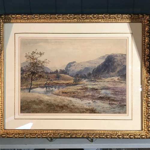 Late 19th Century Watercolour of a Mountain and River Scene image-1