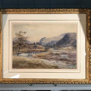 Late 19th Century Watercolour of a Mountain and River Scene