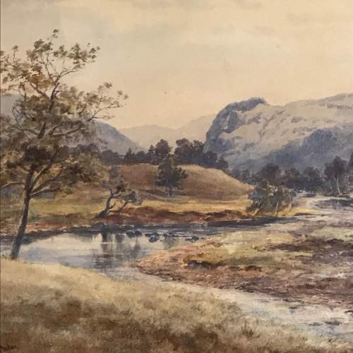 Late 19th Century Watercolour of a Mountain and River Scene image-2