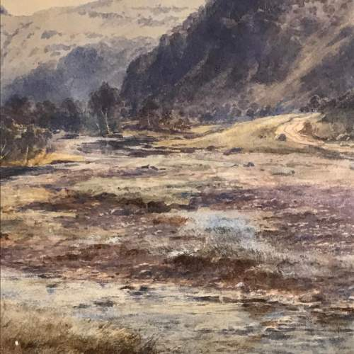 Late 19th Century Watercolour of a Mountain and River Scene image-3
