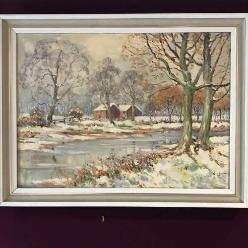 20th Century Signed Oil on Canvas of a Winter Scene image-1