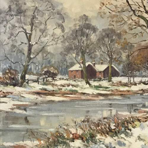 20th Century Signed Oil on Canvas of a Winter Scene image-2