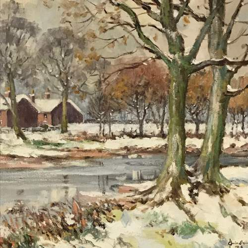 20th Century Signed Oil on Canvas of a Winter Scene image-3