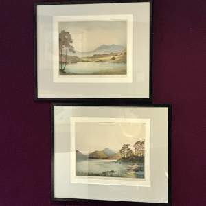 20th Century Pair Of Mountain Watercolours
