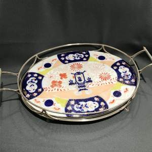 Victorian Silver Plated Oval Tray with Ceramic Insert