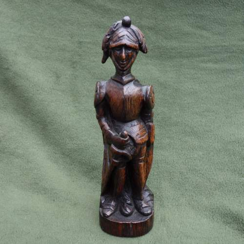 An Oak Carving of a  Medieval Knight image-1