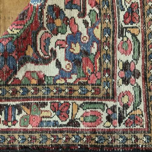 Old Hand Knotted Persian Rug Saruk Floral Medallion Design image-4
