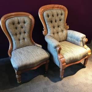 Pair of Edwardian Mahogany Framed Armchairs