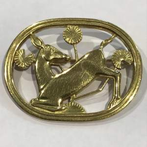 Georg Jensen 18ct Gold Kneeling Deer Brooch