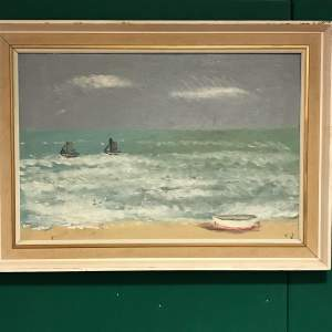 Large 20th Century Oil on Board of a Shoreline