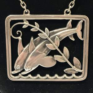Georg Jensen Double Dolphin Silver Pendant Necklace