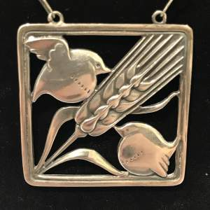 Georg Jensen Two Birds and a Wheatsheaf Silver Pendant Necklace