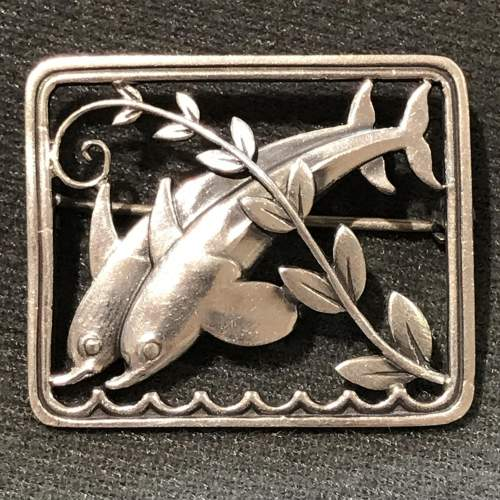 Georg Jensen Silver Double Dolphin Brooch image-1