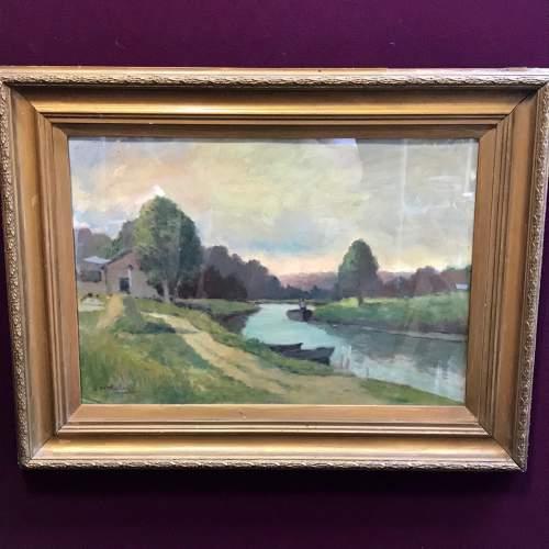 20th Century Oil on Board of a River Scene image-1