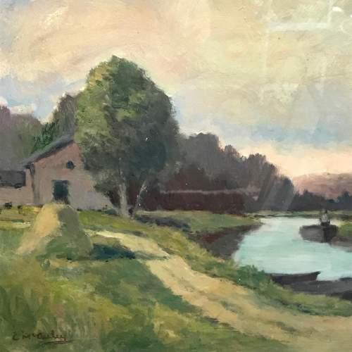 20th Century Oil on Board of a River Scene image-2