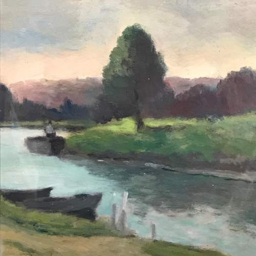 20th Century Oil on Board of a River Scene image-3