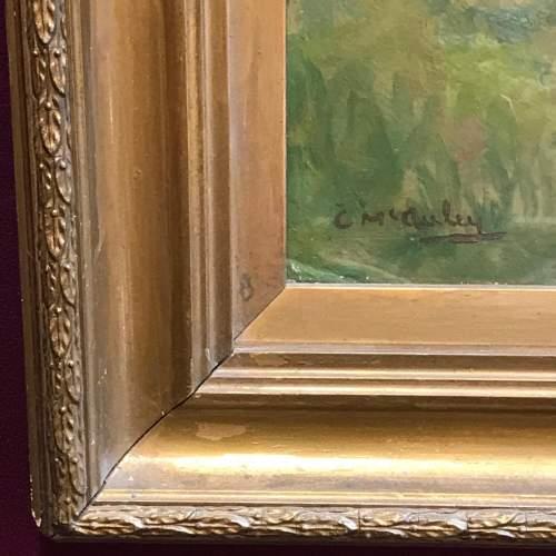 20th Century Oil on Board of a River Scene image-4