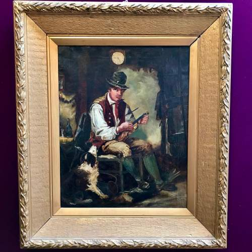 19th Century Oil on Canvas of Violin Player image-1