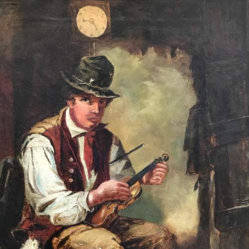 19th Century Oil on Canvas of Violin Player image-2