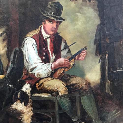 19th Century Oil on Canvas of Violin Player image-4