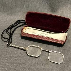 Silver Lorgnette with Case and Cord