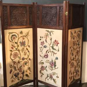 Arts and Crafts Three Fold Oak Screen