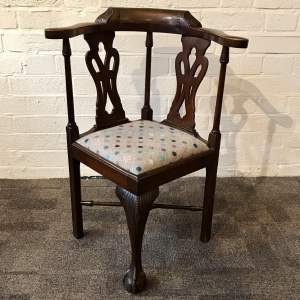 Victorian Carved Mahogany Childs Corner Chair