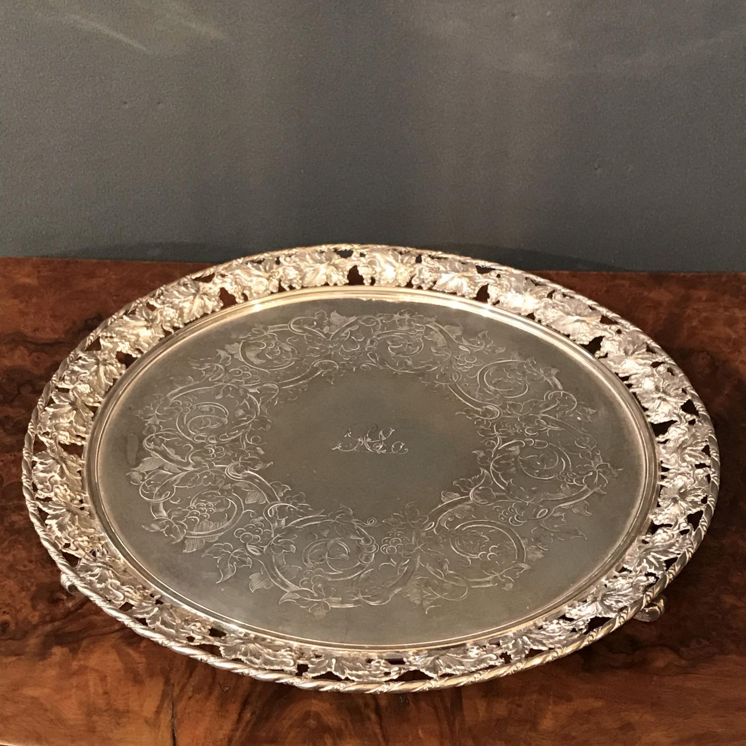 19th Century Silver Plated Circular Tray Antique Silver Plate Hemswell Antique Centres