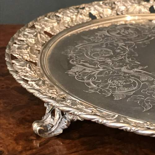 Mid 19th Century Silver Plated Circular Tray image-2