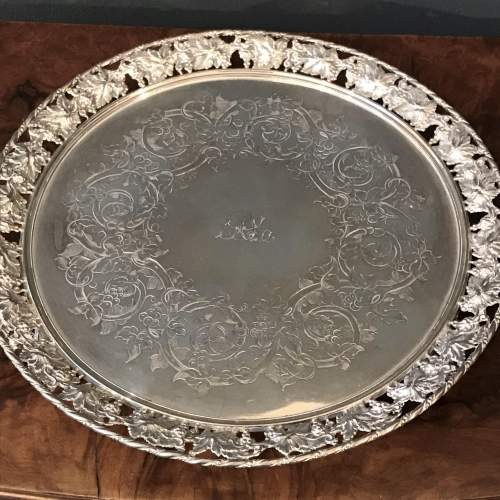 Mid 19th Century Silver Plated Circular Tray image-3