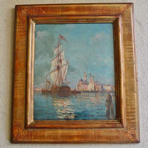Tall Ship Mooring at Venice Oil on Canvas image-1