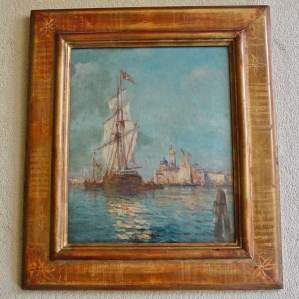 Tall Ship Mooring at Venice Oil on Canvas