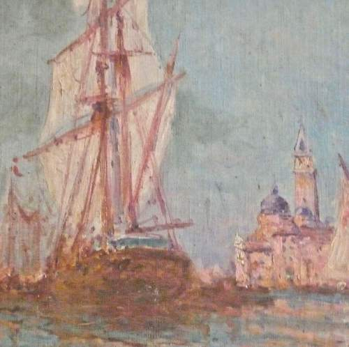 Tall Ship Mooring at Venice Oil on Canvas image-2