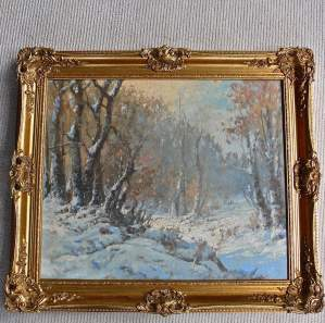 The Woods in Winter Oil on Canvas