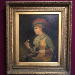 Large 19th Century Oil on Canvas of a Lady Taking Tea