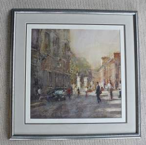 Original Watercolour Painting of Sunlight and Shadow Central London